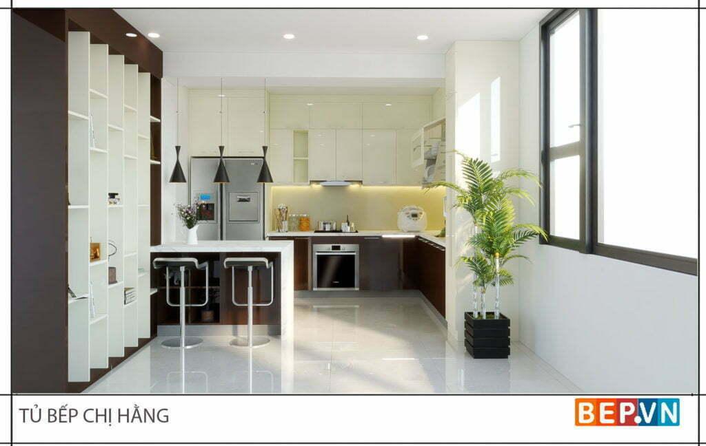 Thiết kế tủ bếp chữ L kết hợp đảo bếp làm bàn ăn sáng, khu vực trò chuyện