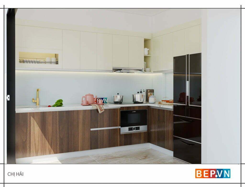 Tủ bếp được thiết kế theo phong cách đơn giản, hiện đại nhà chị Hải