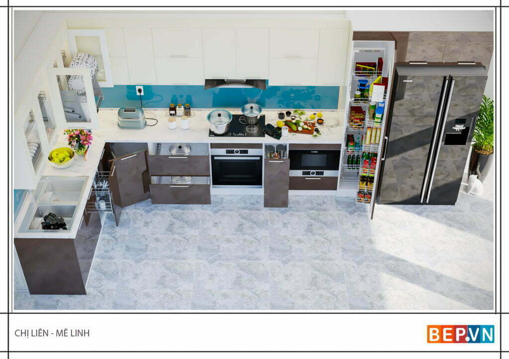 Tủ bếp hiện đại, sang trọng và tiện nghi nhà chị Liên - Mê Linh