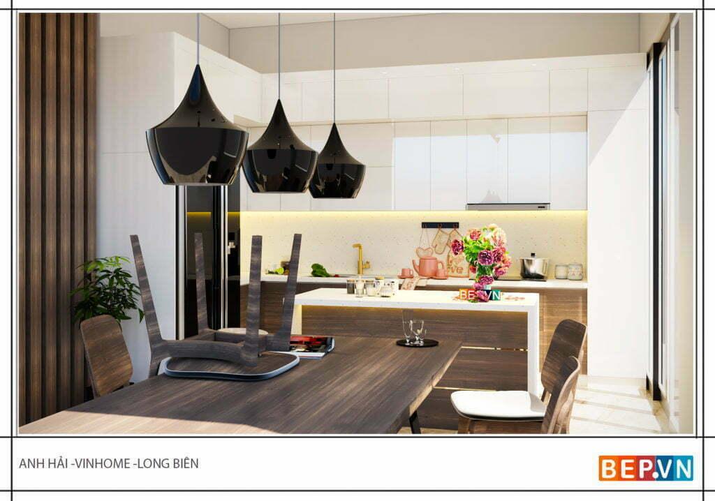 Tủ bếp được thiết kế theo phong cách hiện đại nhưng vô cùng ấm cúng