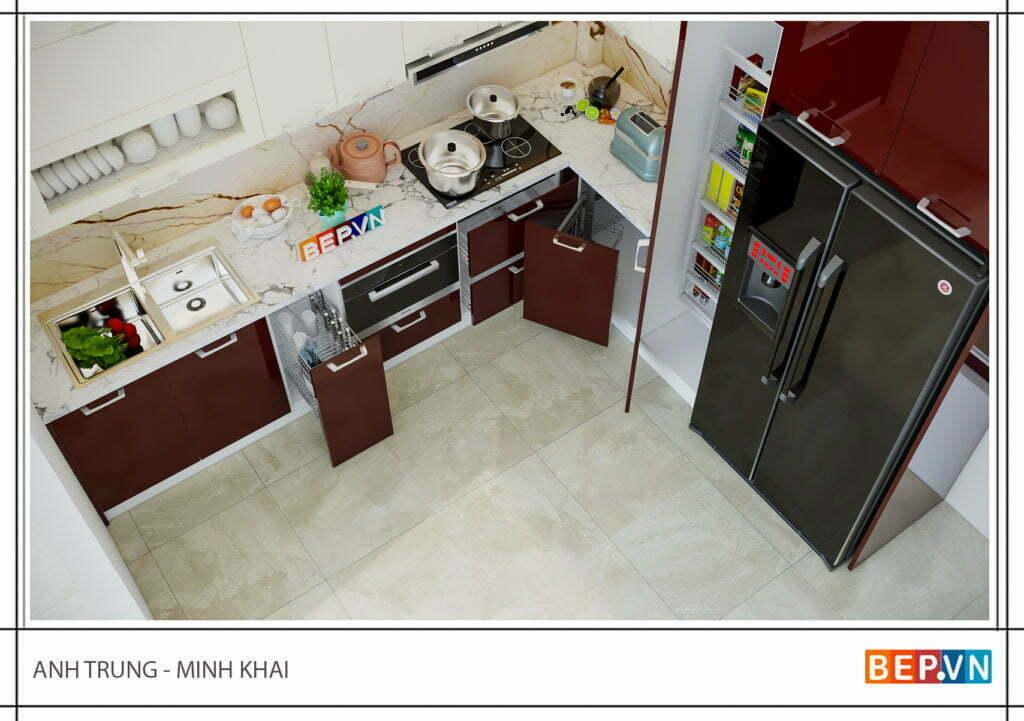 Phụ kiện tủ bếp hiện địa gia đình anh Trung - Minh Khai