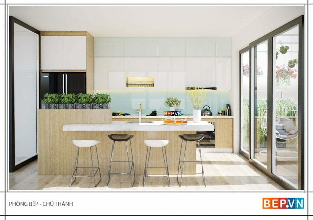 Thiết kế tủ bếp đẹp có đảo bếp hiện đại