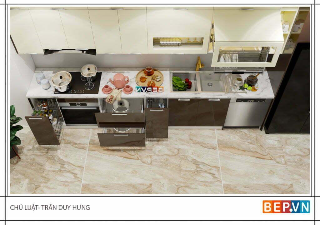 Mẫu tủ bếp chữ i cho phòng bếp nhỏ tối đa công năng sử dụng