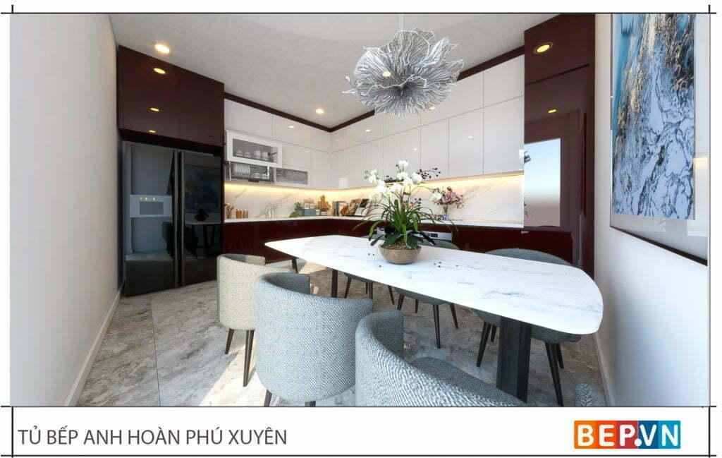 thiết kế tủ bếp kiểu chữ L đẹp gia đình anh Hoàn 1