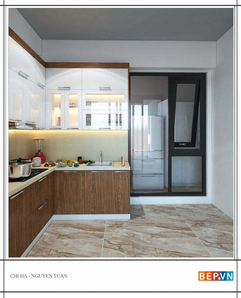 lựa chọn chất liệu, màu sắc tủ bếp phù hợp cho không gian