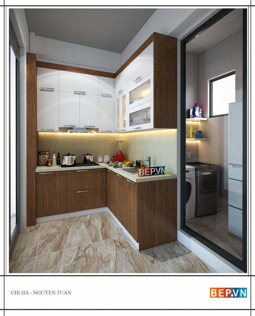 thiết kế tủ bếp nhỏ đẹp kiểu chữ L gia đình chị Hà