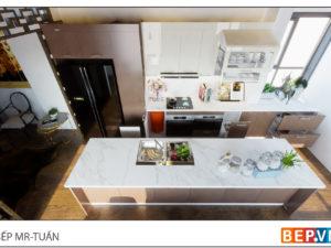 Thiết kế tủ bếp thẳng sang trọng gia đình anh Tuấn - Tuyên Quang
