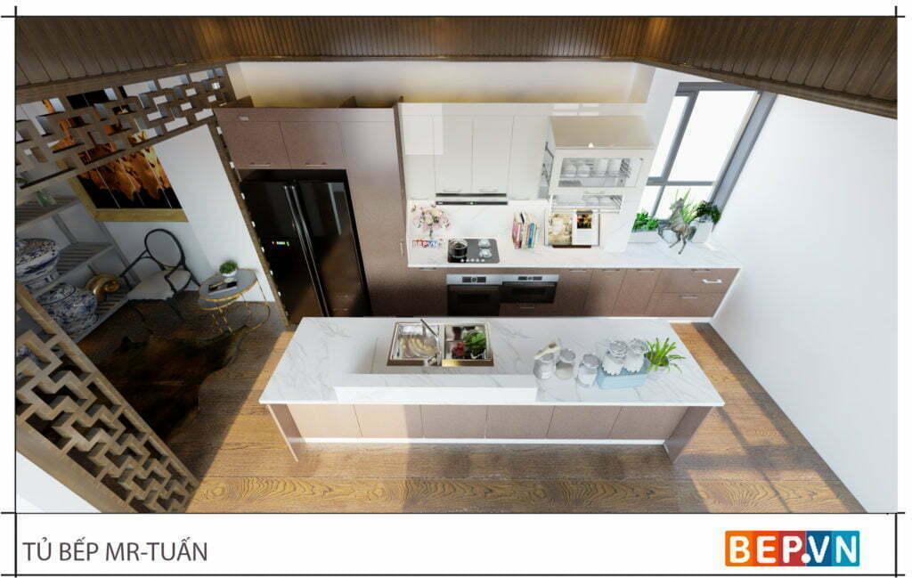 thiết kế tủ bếp thẳng đẹp hiện đại gia đình anh Tuấn
