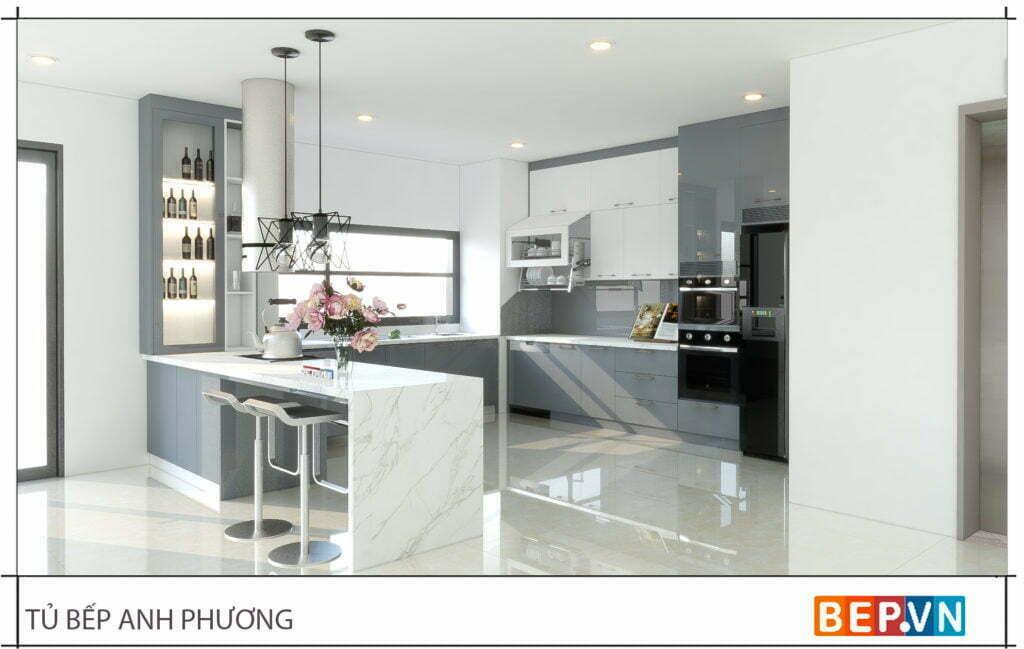 trang trí tủ bếp không thể thiếu yếu tố ánh sáng