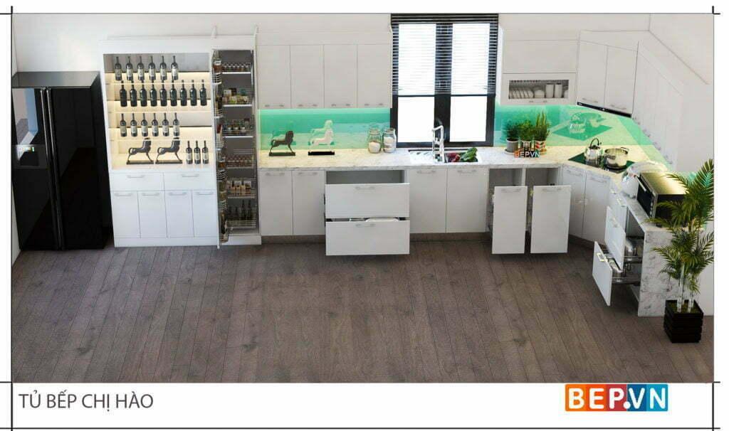 Trang trí phòng bếp với hệ tủ rượu sang trọng