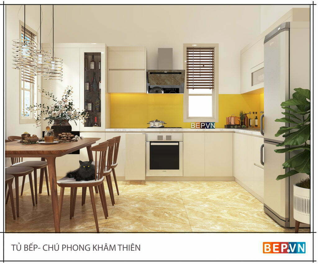 Tủ bếp đẹp sử dụng chất liệu Acrylic bóng gương sang trọng