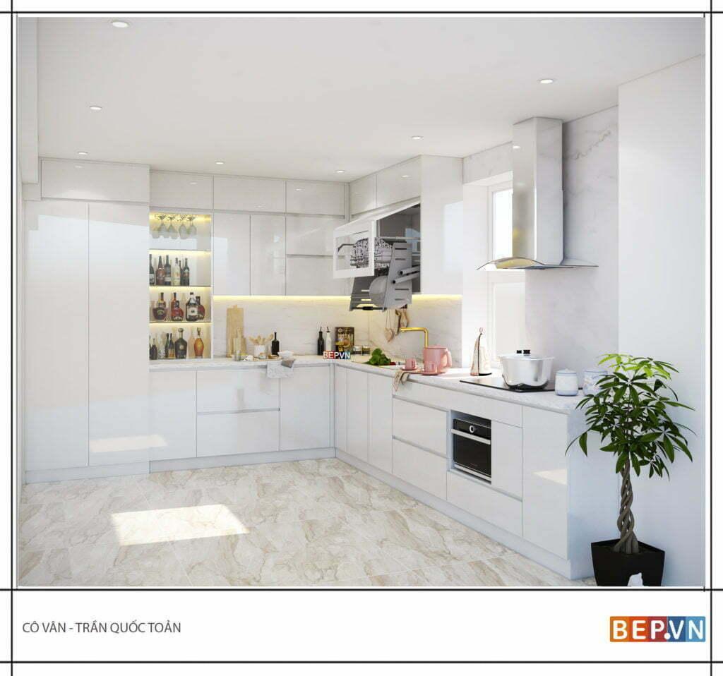 Tủ bếp với gam màu trắng sang tinh tế khiến cho phòng bếp rộng hơn