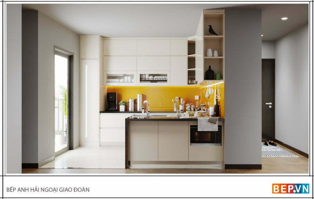 Thiết kế tủ bếp chữ U đẹp, hiện đại gia đình anh Hải