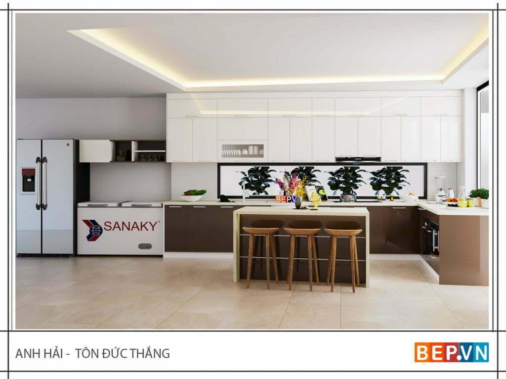 Thiết kế tủ bếp chữ L cho phòng bếp lớn nhà anh Hải