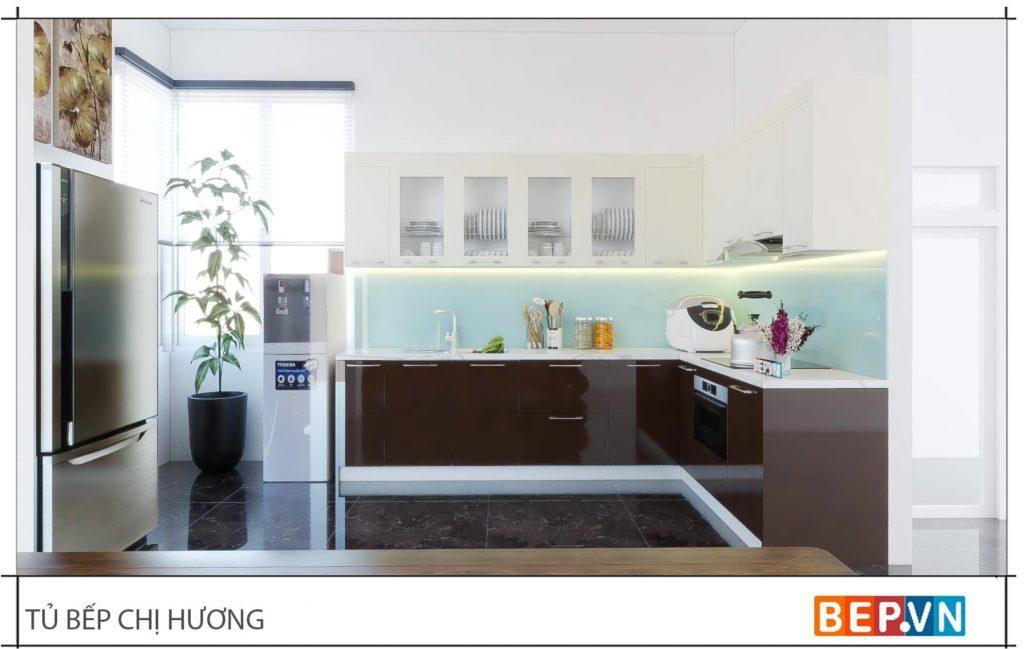 tủ bếp gỗ đẹp theo kích thước và diện tích phòng bếp