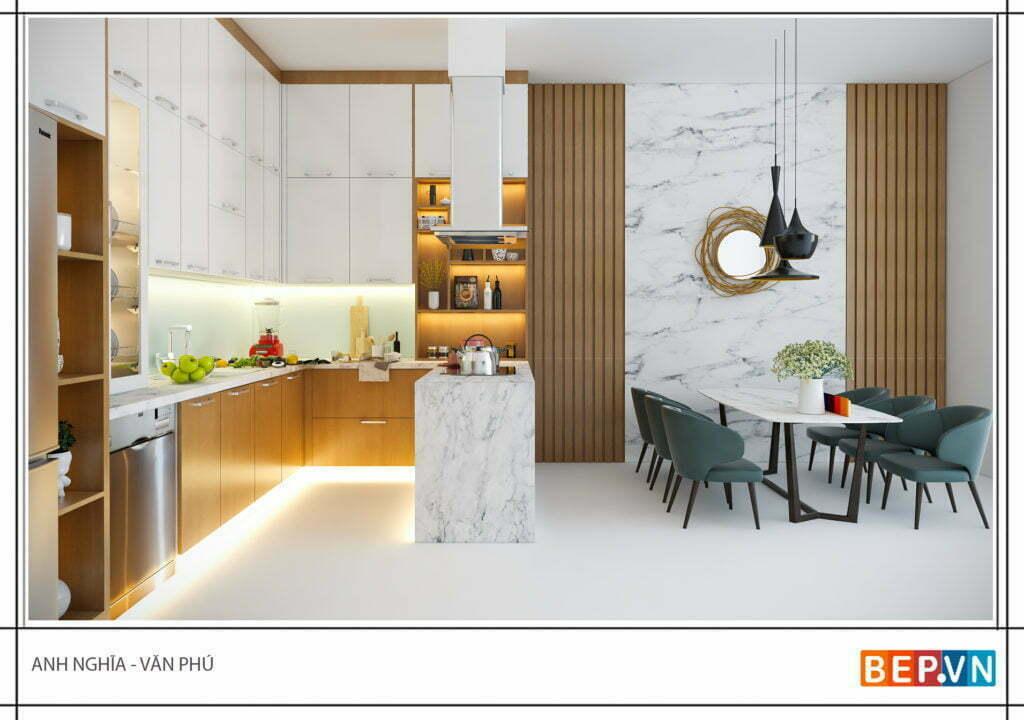 Phòng bếp được thiết kế nổi bật và ấn tượng