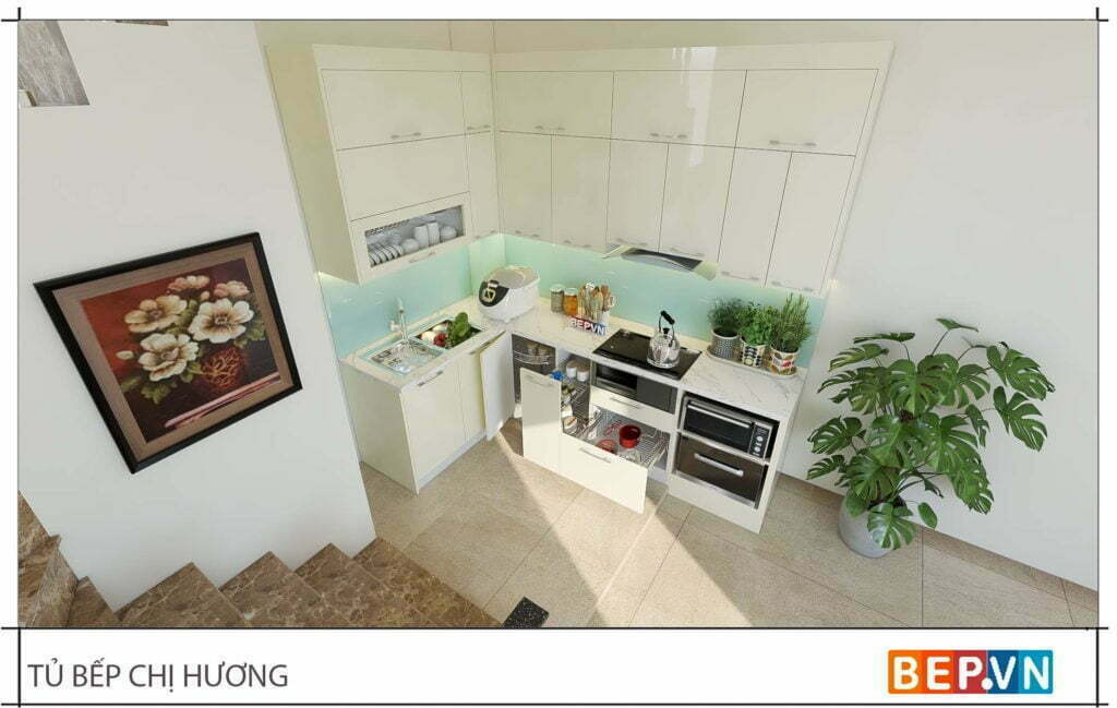 Tủ bếp với gam màu sáng tinh tế, thanh lịch