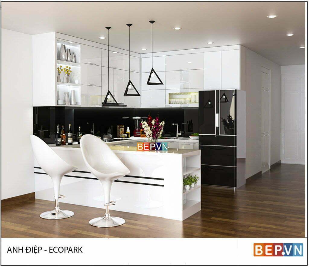 Lựa chọn màu sắc thanh lịch, tinh tế cho tủ bếp gỗ đẹp nhà anh Điệp