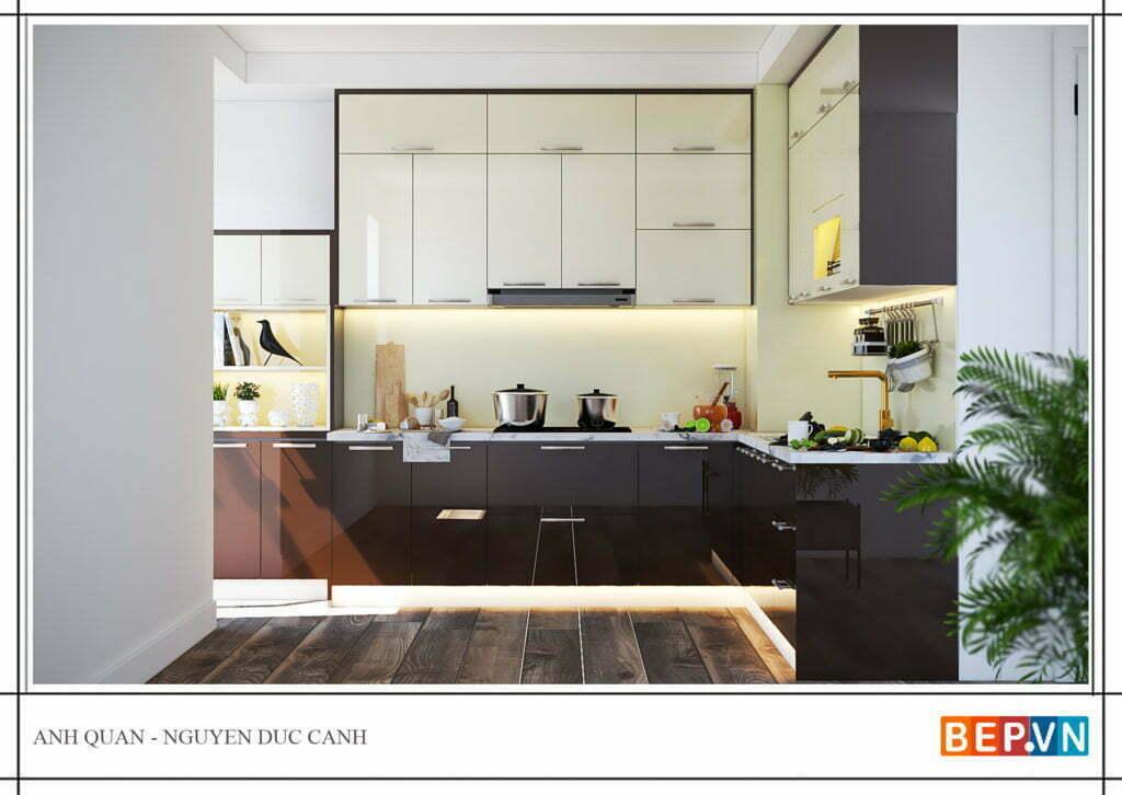 Tủ bếp được thiết kế đơn giản, dễ lau dọn, vệ sinh