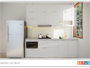 Tủ bếp chữ i cho nhà bếp nhỏ anh Hòa - Lạc Trung
