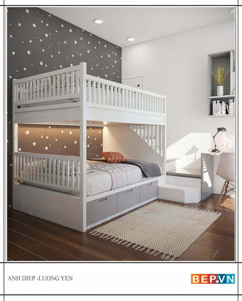 thiết kế giường tầng cho bé