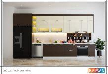 mẫu tủ bếp chữ i dài 3m đẹp hiện đại